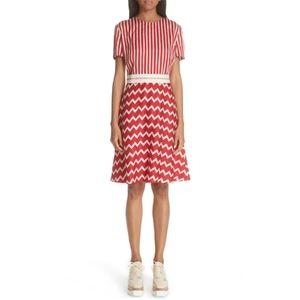 Stella McCartney red stripe dress 44 8 silk zigzag